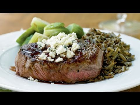 Beef Tenderloin Steaks with Port Reduction and Blue Cheese Recipe