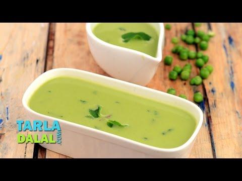 हरा मटर और मिंट सूप रेसिपी (Green Peas and Mint Soup Recipe) by Tarla Dalal