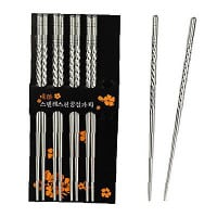 Rbenxia Metal Steel Chopstick Stainless Steel Spiral Chopsticks 5 Pairs