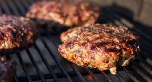 charcoal grill hamburger