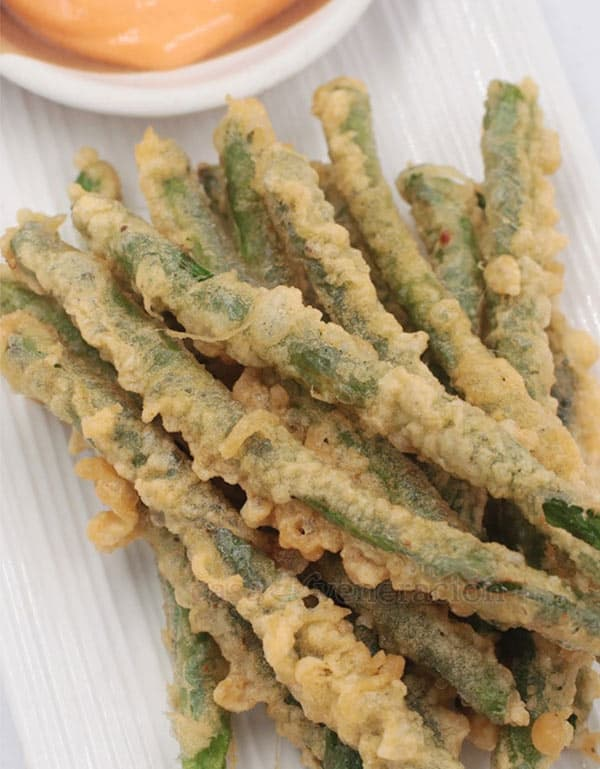 Tempura green beans go well with tuna steaks