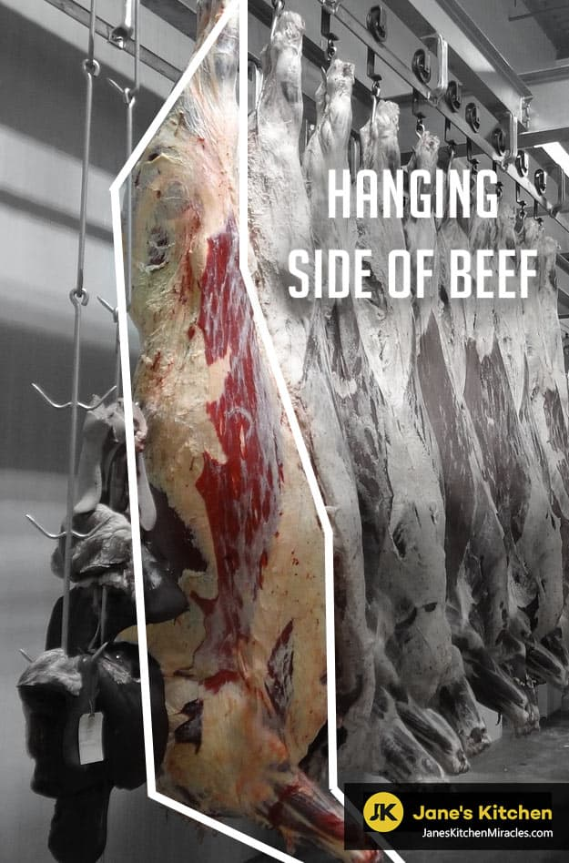 Side of beef hanging in slaughter house