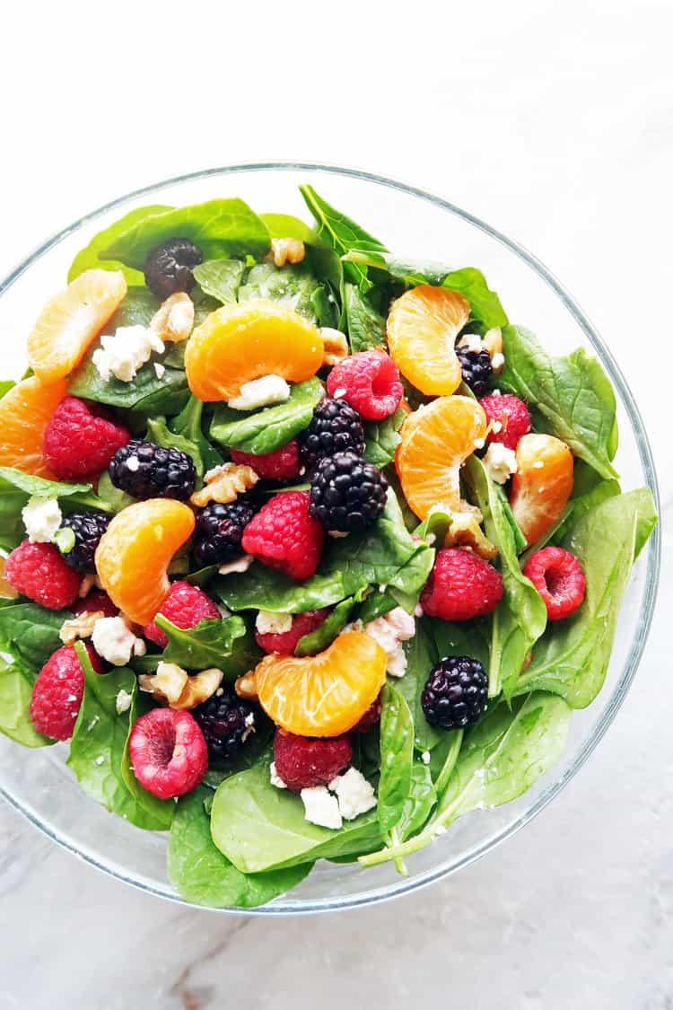 Berry orange spinach salad with citrus balsamic vinaigrette