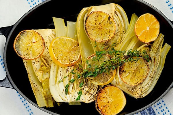 Lemon fennel halibut side dish