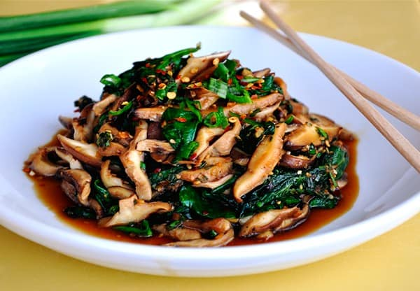 Mushroom and spinach dish