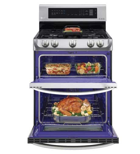 Double oven gas range