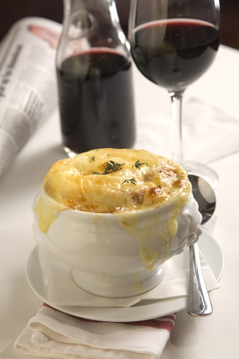 Onion soup and Red Wine