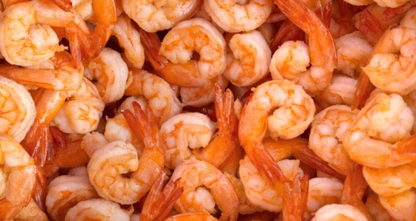 Large volume of grilled shrimp