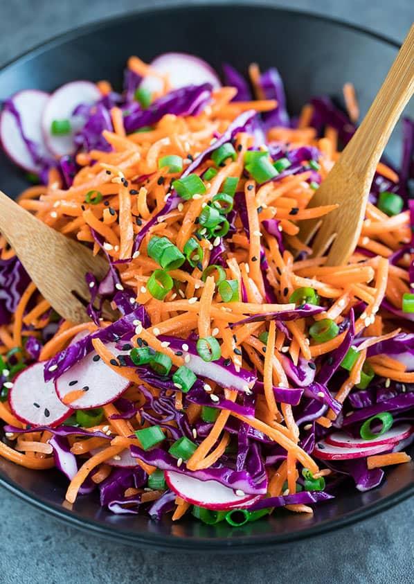 Grilled shrimp side of carrot slaw