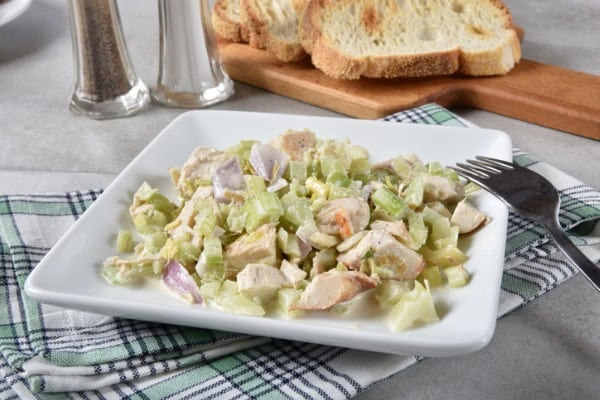 Chicken salad served with bread