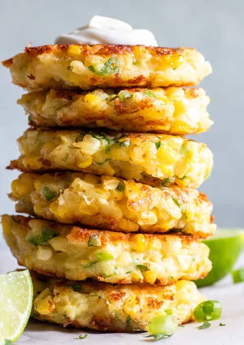 What to eat with stuffed peppers? Corn fritters!