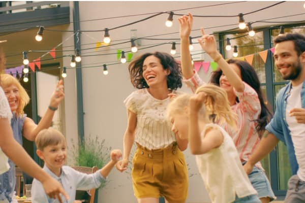 Outside party dancing