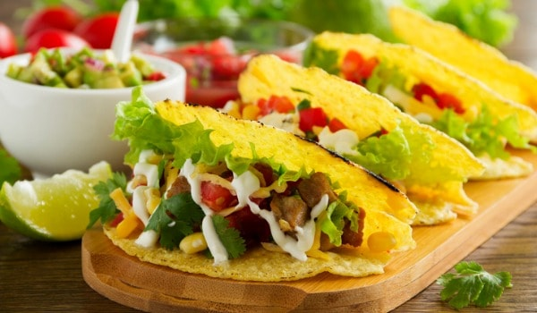 Chicken salad with tacos