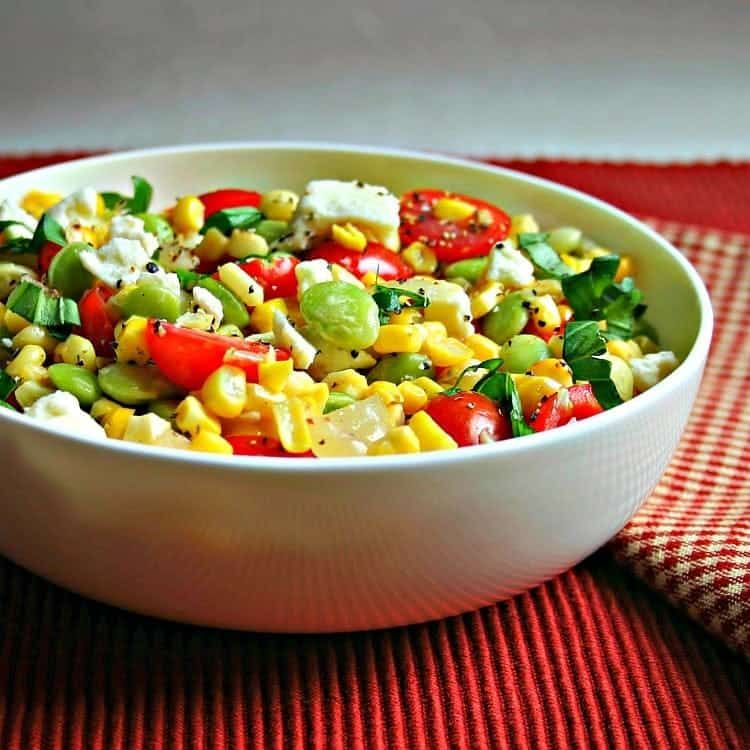 Succotash salad in side bowl