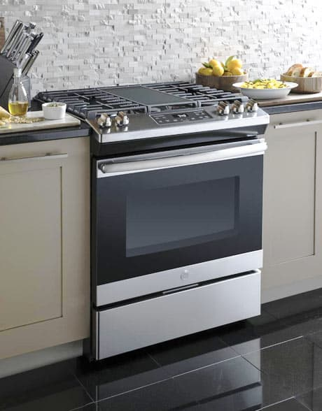 Sleek new gas range in kitchen