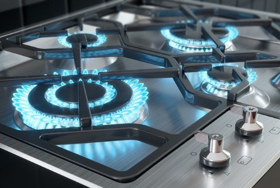 Gas range with double ring burners