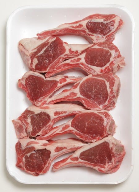 Raw lamb chops with fat