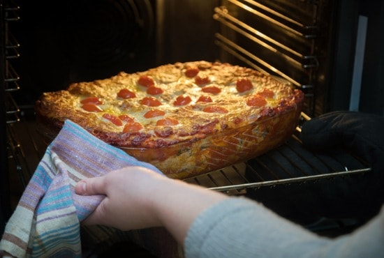 Using glass baking dish in gas oven