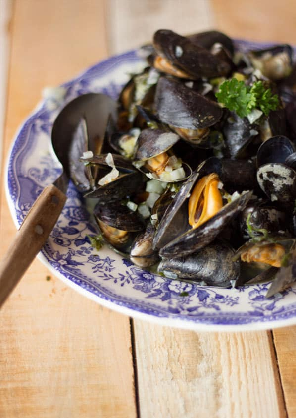 Mussels on a side plate