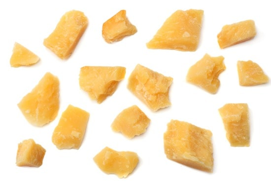 Bits of parmesan cheese