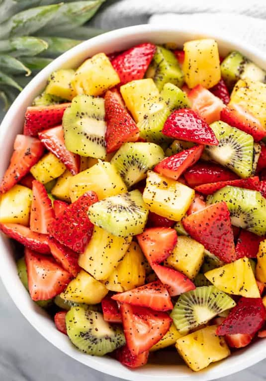 Fresh fruit salad to go with hot dogs