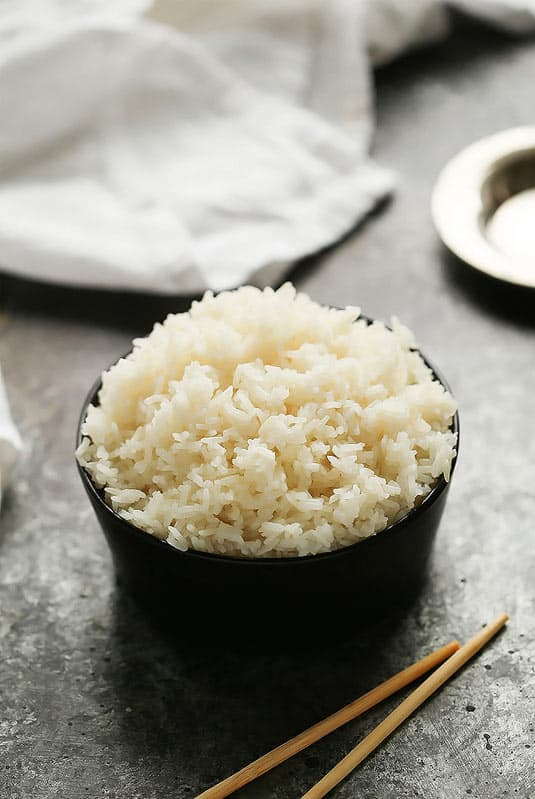 Pressure cooked side of white rice