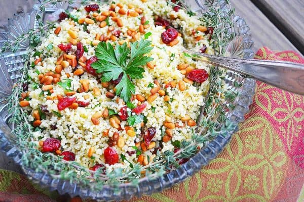Couscous Pilaf alongside soup