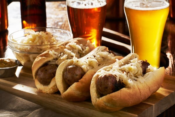 Brats ready to eat with beer