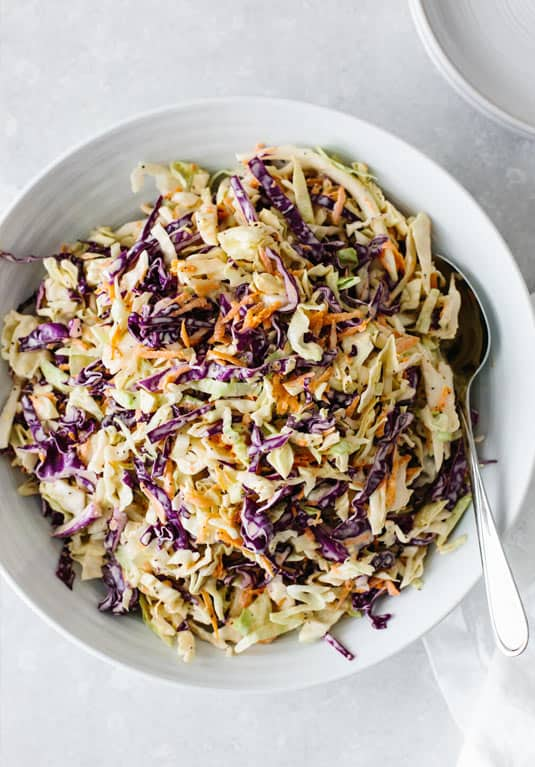 Coleslaw with jerk chicken