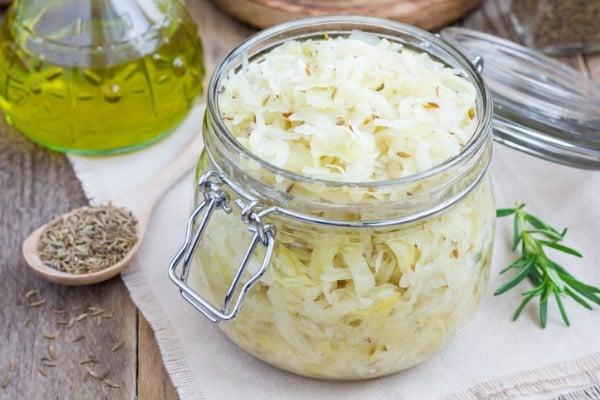 Homemade sauerkraut with brats