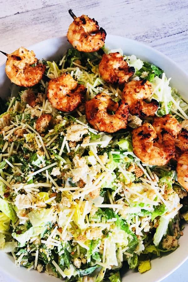 Blackened shrimp side salad
