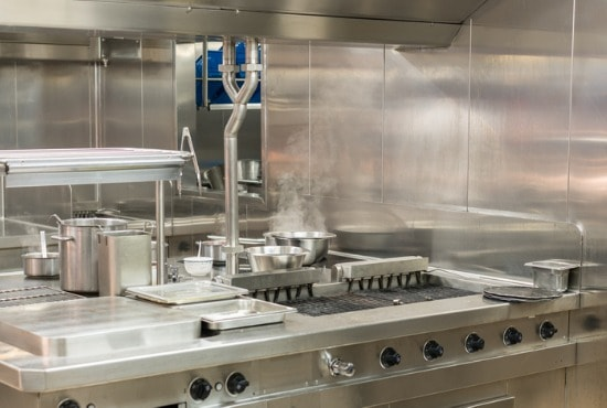 Range in commercial kitchen