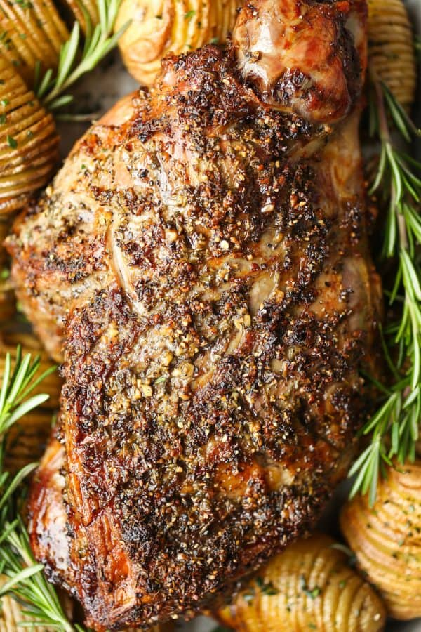 Roasted leg of lamb dinner