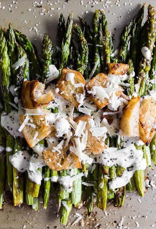 Caesar salad with roasted asparagus