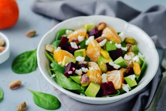 spinach beet feta side salad