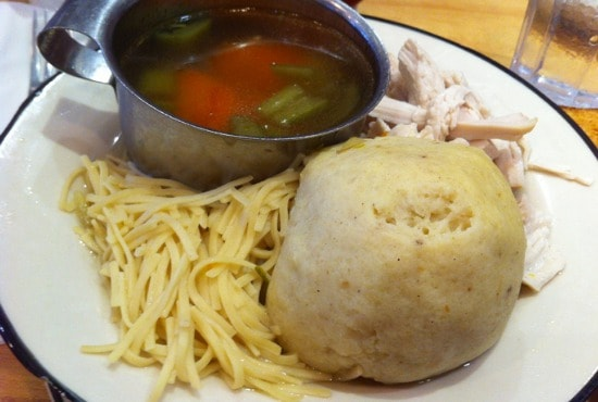 Chicken noodle soup with matzoh balls