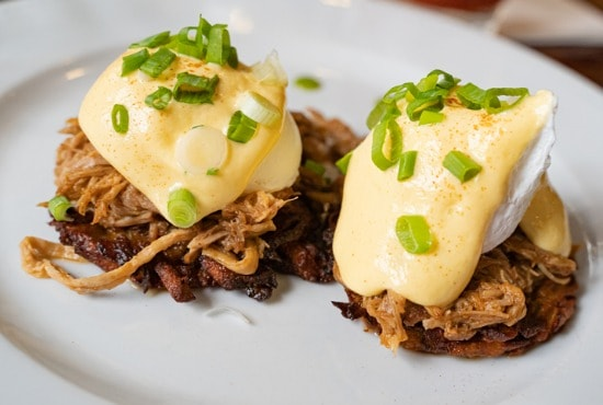 Pulled pork and potatoes with sauce