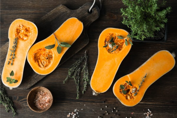 butternut squash with sage and herbs for ravioli
