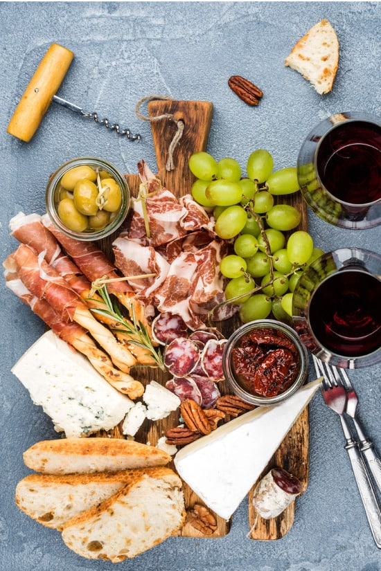charcuterie meat fruit and cheese board