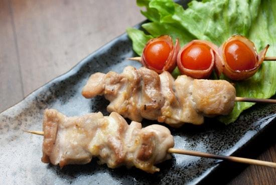 teriyaki chicken skewers with veggies