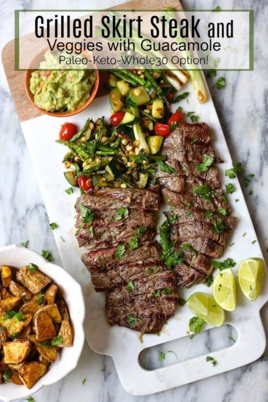 grilled skit steak topped with guacamole