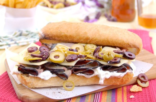 Olives and horseradish on roast beef sandwich
