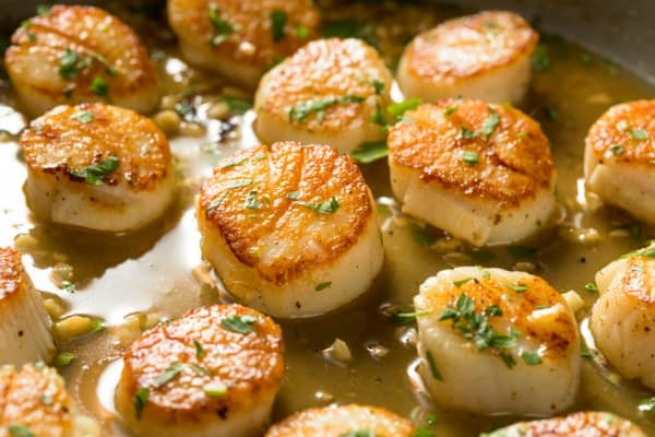 butter and oil scallops