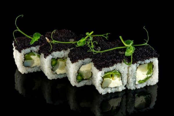 asparagus sushi squares with caviar