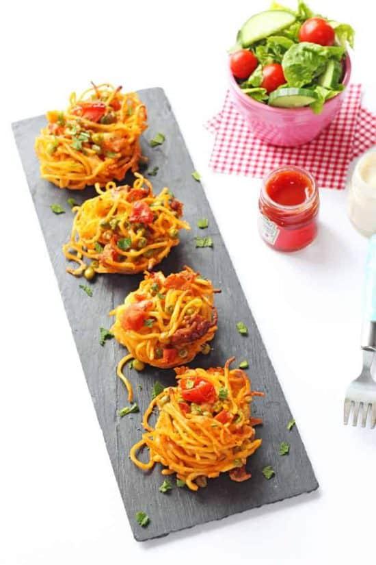 leftover spaghetti bolognese nests