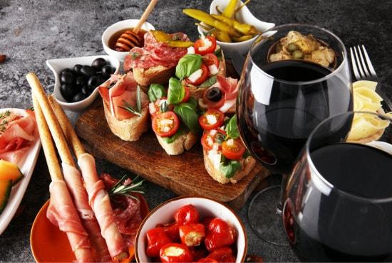 prosciutto with wine