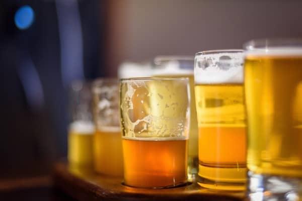 beer flights in sunlight on table