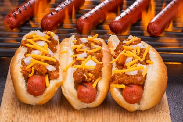 chili hot dogs with chili beans