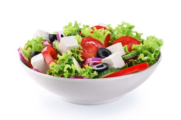 salad with cheese and fresh vegetables