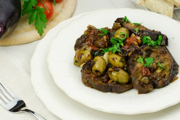 Balsamic and Basil Pan Fried Eggplant with Capers